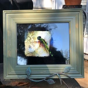 Framed Dragonfly Print w/ Wrought Iron Stand
